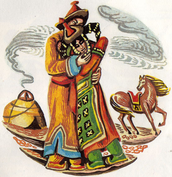 Иллюстрация к сказке Сказка о хане, его зятьях и птице Хангарьд