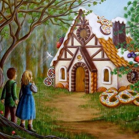 Иллюстрация к сказке Пряничный домик